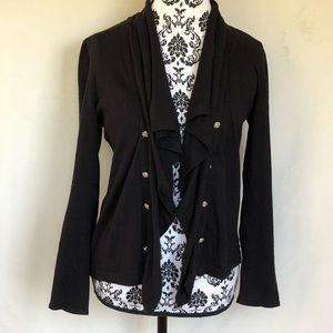 Chaps petite Open Cardigan with Shiny Buttons